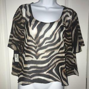 New! Sheer Guess crop blouse. Medium
